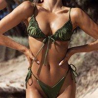 Women's Swimwear Swimming Suit 2021 Women Bandeau Bandage Bikini Set Push-Up Brazilian Beachwear Swimsuit Tankini