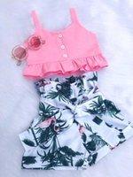 Pudoco Girl Set 2y-6y Fashion Flamingo Flamingo Baby Girls Chaleco Cultivos Tops Corta Pantalones cortos Trajes Ropa Ropa Conjuntos
