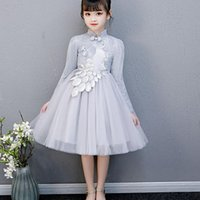 Ethnic Clothing Kids Qipao Evening Gowns Wedding First Dress Comunion Lace Embroidery Year Princess Show Banquet Vestido Chino
