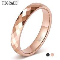 TIGRADE 4MM Tungsteno multifacético anillos de boda rosa oro / banda de compromiso negro para mujeres hombres comfort fit couppleize 4.5-12