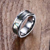 Кольца Mprapainbow Mens Вольфрамовый карбид Abalone Shell Inlay Anlay Wedding Band Ring для мужчин мода ювелирных изделий анел Masculino