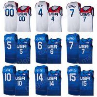 US Basketball Jersey 2020 Sommer Olympiade 7 Blau Kevin Durant 15 Devin Booker 6 Damian Lillard 10 Jayson Tatum Zach Lavine Bradley Bradr USA 2021 Navy Weiße Männer Kind Frauen