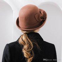 أفضل الظل فيبوناتشي جديد جودة العلامة التجارية الفاخرة الصوف الزهور فيلت فيدورا المرأة الخريف الشتاء القبعات قبة أنيقة مأدبة فيدورا قبعة
