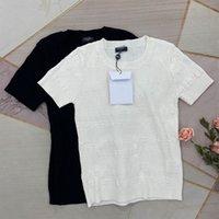325 2021 Frühling Sommer Marke Dieselbe Stil Pullover Hohe Qualität Crew Neck Print Normal Kurzarm Pullover Drucken Frauen Kleidung Weißer schwarzer Pullover KF