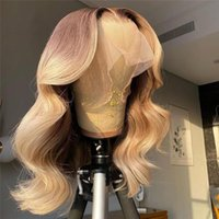 Glueless Ombre Dark Blonde Body Wave Long Lace Front Wigs Transparent Wig Human Hair For Women With Baby