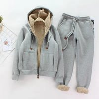 Winter Plus Velvet Thickening Hoodies Two Piece Set Womans Tracksuits Pants Thick Warm Clothes Womens Solid Color Jacket Suit Women's