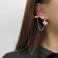 New Boho Enamel Butterfly Clip on Earrings Trendy Charms Long Link Chain Ear Cuff Earclip Stackable Bijoux Women Fashion Jewelry