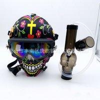 Maschera in silicone Bong Skull Pattern Acrilico Tubo dell'acqua con occhiali da sole Maschera per il viso Gas Maschera Asciugare Erba Secco Multifunzione Narghilè Shisha 395 S2