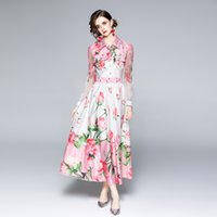 100% Polyester Women's Long Dress Sexy Lace Panelled Spring and Autumn Dresses Turn-down Collar Single Breasted Floral Printing Sliming Vestidos