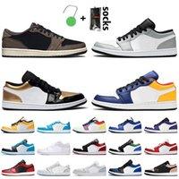 Low Nike Air Jordan 1 Travis Scott Retro Jordan 1 1s Düşük Basketbol Ayakkabı Işık Duman Gri Altın Toe Kraliyet Sarı Mavi Paris Mahkemesi Obsidiyen Spor Eğitmenleri Sneakers