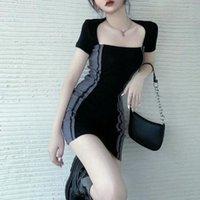 Casual Dresses Women Neck Short Sleeve Summer Tight 2021 Skirt Vestido De Mujer Femme Robe