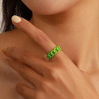 Chunky Chain Band Rings Trendy Women Girls Candy Color Hollow Out Chains Ring Adjustable Punk Jewelry for Party Gift