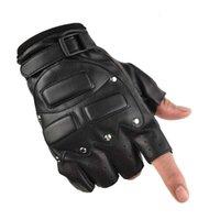 الرجال التكتيكية نصف الإصبع مسمار كيرين سوط حقيقية جلد الغنم قفازات تقليد الجلود اللياقة البدنية الدراجات نصف الإصبع 31l5