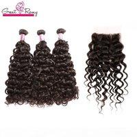 """GreatRemy? Big Curl Chinese Virgin Hair Weave 8 """"-34"""" 3 unids paquetes de cabello + 1pc Cierre de encaje 4x4 ola de agua extensión de pelo humano grande"""