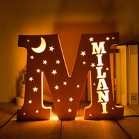 Novelty Items LED Customizable Name Night Light USB Wooden Warm Table Lamp Star Moon Letter Decorative Creative Child Birthday Gift
