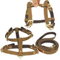 Khaki Pet Gurnesses Leashes Set Brief Jacquard Leder Hundehalsband Leine Outdoor Sports Bulldogge Haustiere Brustgeschirr