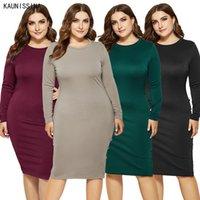 Plus Size Dress Women Autumn Long Sleeve Elegant Vintage O-Neck Knee-Length Pencil Dresses Casual Clothing Big Sizes