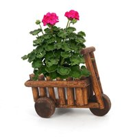Flower Pot Tabletop Plants Succulent Ornamental Wooden Cart Rustic Garden Decor Balcony Wheelbarrow Mini Planter Office Decorative Objects &