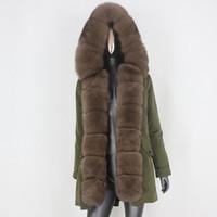 Faída de las mujeres Faux CXFS 2021 Largo impermeable Parka Abrigo Real Chaqueta de invierno Mujeres Natural Cuello grande Campana Cálida Outerwear Detachable