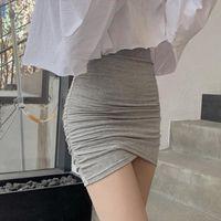 Skirts High Mini Skirt Waist Pleated Short Female Sexy Street Party Tight Wrap Hip Irregular Bag