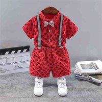 2021 Summer Baby Boys' Tracksuit Short Sleeve Shirts With Bow + Suspender Shorts Two Piece Set Letters Printed Children's Formal Party Clothes G58X71X