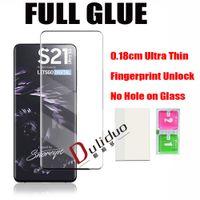 0.18mm 3D curvado cola cheia de vidro temperado protetor de tela de vidro para Samsung Galaxy S21 Ultra S20 S10 Note20 Plus S9 S8 Note9 Note8 Impressão digital Desbloquear sem furo filme