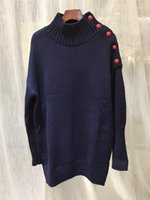 Navy Woman Wool Sweater Turtleneck Drop Shoulder Red Buttons Long Sleeves Fashion Jumper Oversized Knitwears 2020 New Fall1