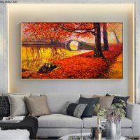 Autumn Road Trees Falling Red Leaves Beautiful Landscape Canvas Painting Oil Style Wall Decoration Nordic Home Decor Art Cuadros