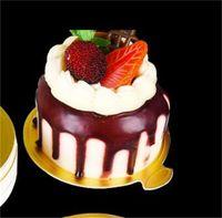 100pcs / Set Round Mousse Torta Pannelli Gold Carta Gold Bupcake Dessert Displays Vassoio Matrimonio Cake Birthday Cake Pasticceria Strumenti decorativi Kit 182 V2