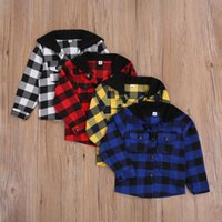 Hoodies & Sweatshirts Baby Girls Boys T-Shirts Long Sleeve Single-breasted Hoodie With Flap Pockets Spring Autumn Laid Pattern Coat