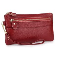 Wallets Fashion Zipper Purse With Hand Rope D 100% Cow Leather Women Clutch Wallet Mini Mobile Phone Bag Female