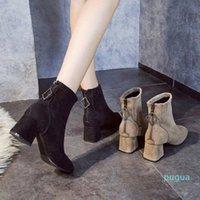 Calzini elasticizzati stivali scarpe slip caviglia inverno elegante zip square tacchi alti tacchi alti per le donne
