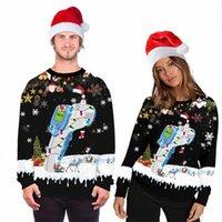 2021 Couples Christmas Theme Sweater All-around cute animal Sloth Santa Costume printed pullover E8sM#