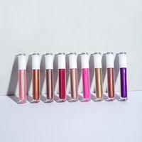 Lip Gloss 15 Farben Optional Hell Glänzend und Glitzer Private Label Benutzerdefinierte Perllegierende Rundrohr Metall Wind Glasur Lippenstift
