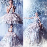 Princess Flowers Little Girls Pageant Dresses Extravagant Couture Ball Gown Beads Applique Teen Prom Gowns For Wedding Party Dres