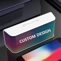 Custom Logo Wireless Speaker 3D Stereo FM Radio Loudspeaker Portable Outdoor TF Card Bluetooth-Compatible with Mic White B165