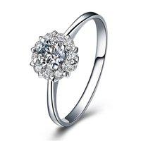 14K 화이트 골드 도금 0.6 CT 공주 컷 소나 시뮬레이션 된 다이아몬드 약혼 반지 여성, 고급 실버 925 독특한 결혼 반지