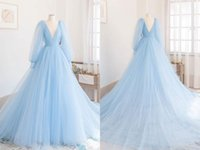 Elegant Light Sky Blue V neck A line Prom Evening Dresses Formal Gowns 2022 Poet Illusion Sleeves Tulle Backless Long Ruched Red Capet Cocktail Party Pageant Dresess