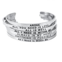 Bangle 4 Mm Silver Stainless Steel Engraved Positive Inspirational Quote Handmade Cuff Mantra Bracelets For Women Gifts