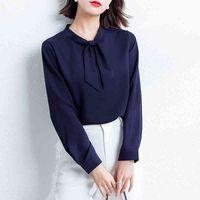 Women's Blouses & Shirts Female blouse chiffon long sleeve, female social shirt 6M5P