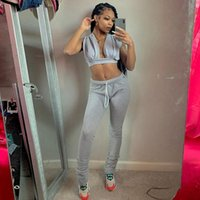 Women's Pants & Capris Two Piece Outfits Sport Joggers Sweatpants 2 Matching Sets Women Set Ladies Summer Crop Top Stacked