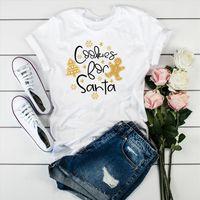 Y las mujeres cookie santa impresión para hombre camisetas de manga corta o cuello suelto señoras verano causal tee tops