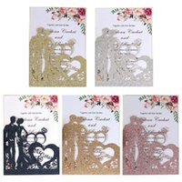 Greeting Cards 10pcs set Glitter Laser Cut Ring Wedding Invitations Card Invite Envelopes Kit Bridal Shower Engagement Party Supplies