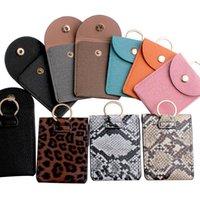 Card Holders Fashion Snakeskin Grain PU Function Case Business Holder Men Women Bag ID Key Wallet With Keychain