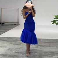Simple Royal Blue Midi Mermaid вечернее платье 2021 Sexy без бретелек короткие платья выпускного вечера для женщин Гостевая партия Формальные платья платья