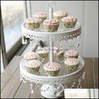 Cuisine de cupcake Cuisine de cuisson, bar à manger Home Gardenglass Stand 2 Tier White Iron Cany Cookie Affichage Table Table De Mariage Party Décoration Fourni