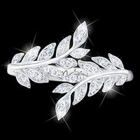 새로운 패션 크리 에이 티브 잎 깃털 반지 여성의 결혼식 약혼