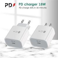 Type-C 18W PD Быстрая зарядка 18 Уолта Power QC3.0 Устройство быстрого настенного зарядного устройства Мобильные телефонные Чарджеры с портом USB-C для iPhone XS