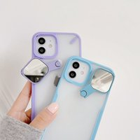 Kickstand Phone Cases For Iphone 12 Pro Max Mini 11 XR XS X 8 7 plus New Design Camera Lens Protection Transparent mirror Make up selfie auxiliary Case Clear Back Cover