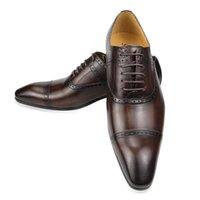 Hommes de luxe Mode Nouveau Mariage Homme Full Grain Véritable Cuir Véritable Designer Style Italien Style Scolaire pointu one-up chaussures sculptées à la main
